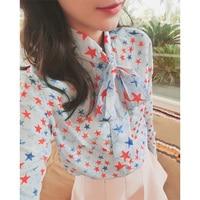 100 Silk Blouse Shirt Printed Star Chiffon Blusas Women High Quality Long Sleeve Oversized Plus Size
