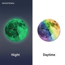 Creative Romantic 3D Luminous Large Moon Fluorescent font b Wall b font Sticker reloj de pared
