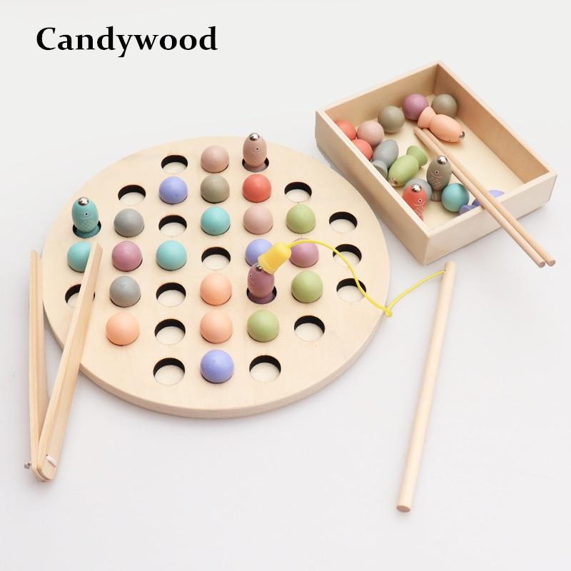 Candywood 2019 nueva llegada niños educativos juguetes Clip cuentas pesca Multi-funcional de aprendizaje juguete para los niños Montessori