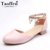 TAOFFEN Size 30 43 Elegant Women Flats Sandals Beading Ankle Strap Flats Sandals Chain Summer Wedding Shoes Women Footwears