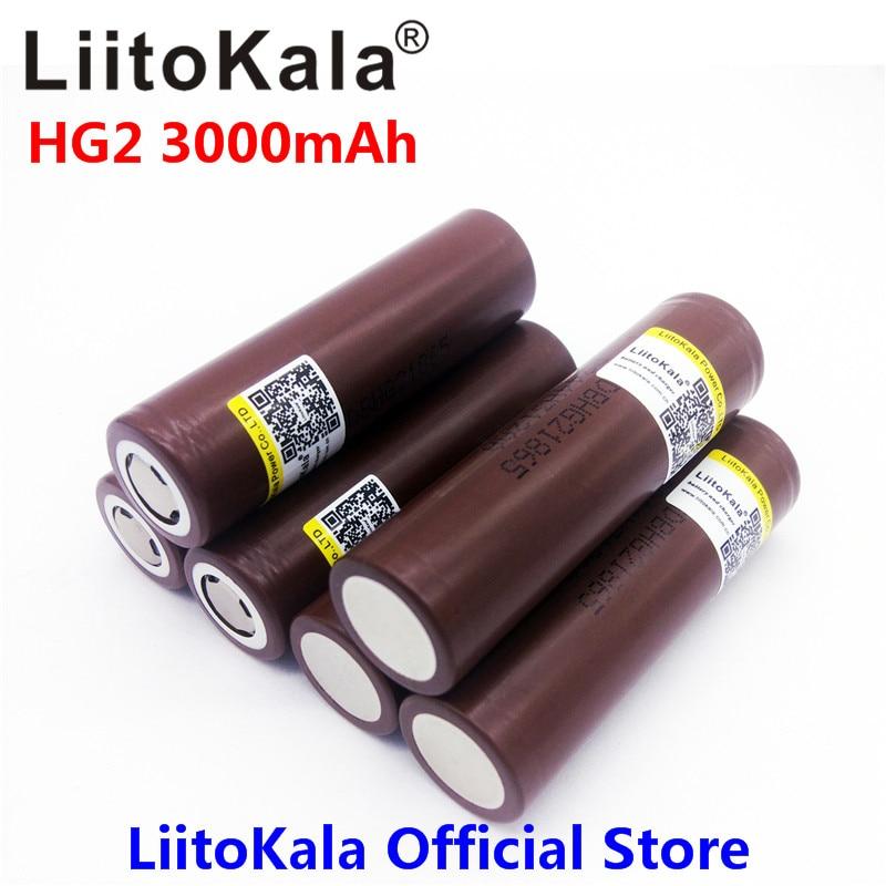 LiitoKala для HG2 18650 18650 3000 мАч электронная сигарета Перезаряжаемые аккумулятора высокий разряд, 30A большой ток