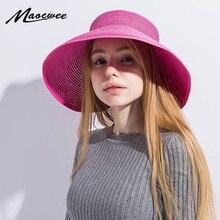 Fashion Women Summer Straw Sun Hat Cool Folding UV Straw Hat Beach Sunscreen Cap Easy Fold Empty Top Rattan Plaited Hat 2018 New