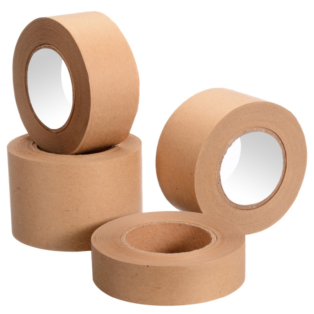 30m Gummed Kraft Paper Tape Bundled Adhesive Paper Tapes Sealed Water Activated Carton Painting Sticker For Packaging Tools