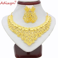 Adixyn New Luxury Chokers Necklace Earrings Set Jewelry Gold Color Arab/Ethiopian/African/Dubai Women Girls Gifts N03141