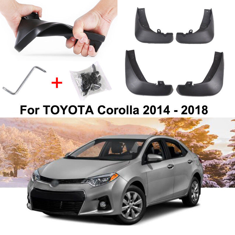 4pcs Mud Flaps Splash Mudguards Guard Fenders Black For Toyota Corolla 2014-2015
