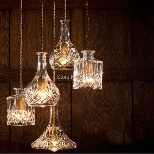 4 unids/lote Botella de Cristal Colgante de luz Transparente/Ámbar ...