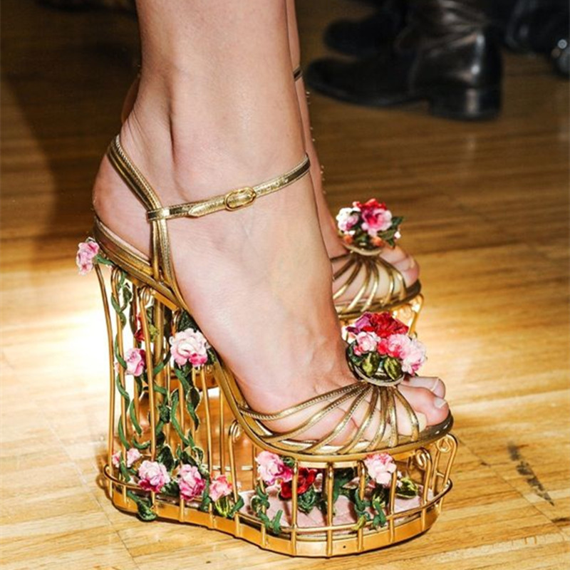 loved rose flowers gold metal cage brand gladiator sandals women shoes gorgeous platform wedge sandals sexy ladies wedding shoes