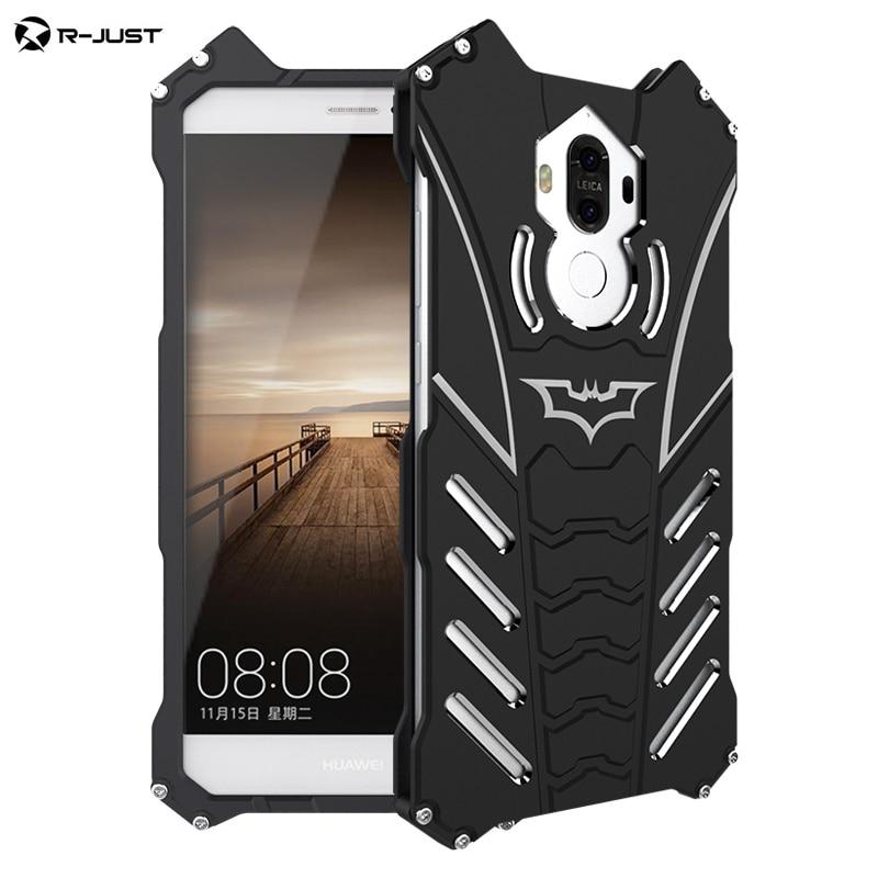 R-JUST For HUAWEI mate 9 case Armor Heavy Dust Metal Aluminum BATMAN protect Skeleton head phone shell case cover+BATMAN bracket