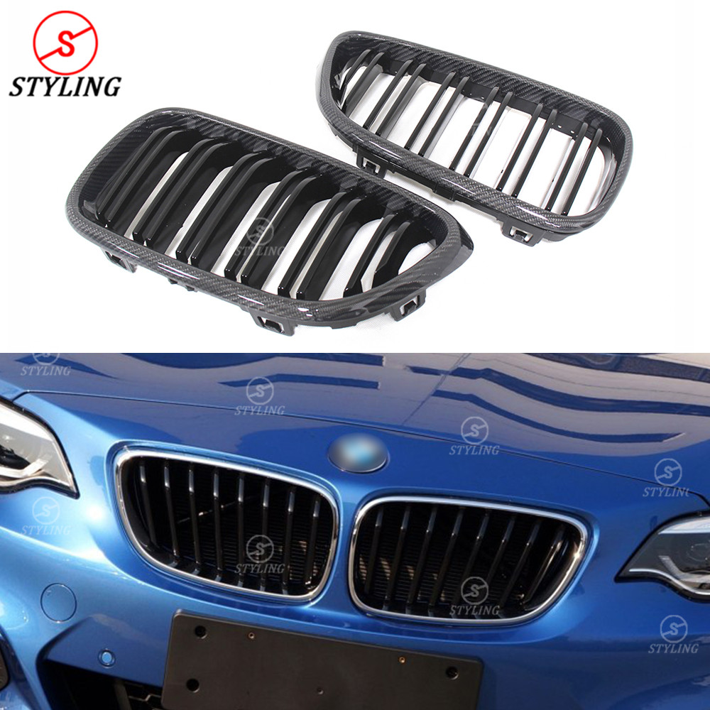 For BMW 2 Series F22 F23 & M Series F87 M2 Plastic & Carbon Fiber Front Grille Gloss Black Finish with three color 2014 -UP