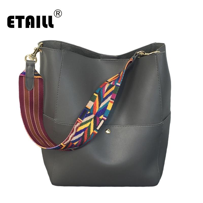 2 Pieces Lash Package Rainbow Wide Shoulder Strap You 2016 Vintage PU Leather Korean Japanese Bucket Designer Brand Famous Bags