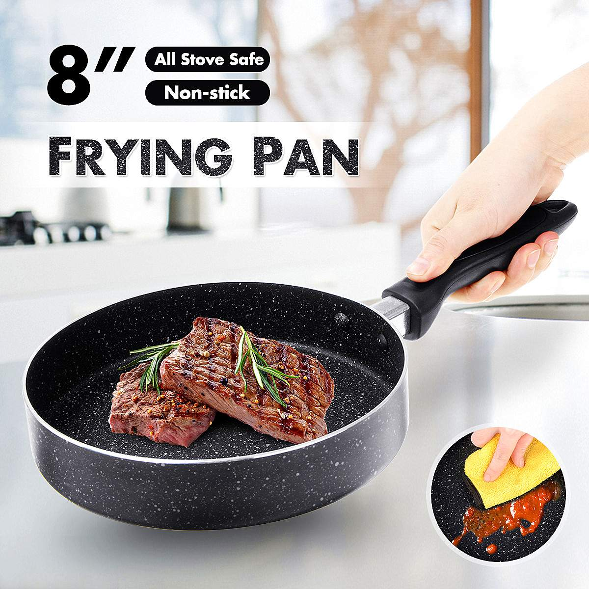 Non Stick Frying Pan With Ceramic Coating For Gas Stove Induction Cooker Electric Furnace Egg Pancake Pot Kitchen Tools Cookware