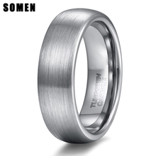 6mm Unisex Tungsten Carbide Ring Brushed Dome Metal Band Comfort Fit Wedding