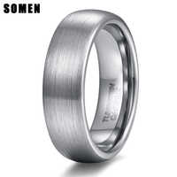 Somen 6mm Gebürstet Silber Hartmetall Hochzeit Engagement Ring Herren Schmuck Anel Masculino