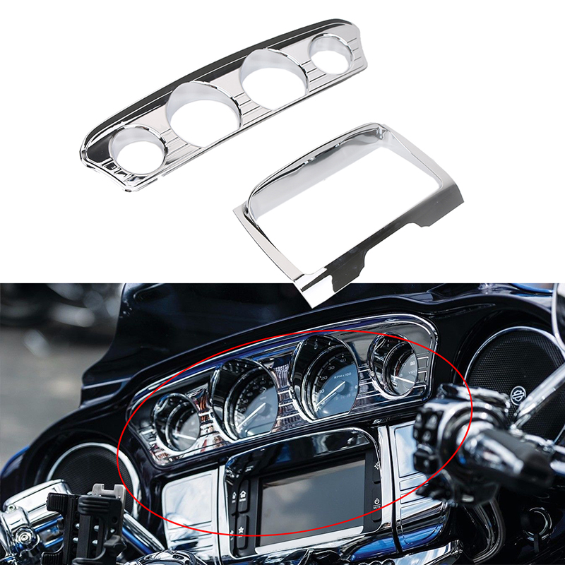 Chrome Motorcycle Inner Deluxe Tri Line Stereo Trim Ring Cover For Harley Touring Electra Street Tri Glide Ultra 2014-2017 C/5