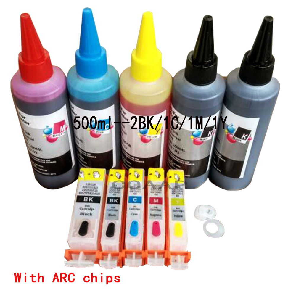 Refillable canon 520 521 ink cartridge kit for PIXMA MP 540 545 550 558 560 568 620 630 640 640R 648 printer, with 500ML Dye ink 2 suit for canon pg240 remanufactured ink cartridge with dye ink printer cartridge for mx372 432 512 mg2120 mg3120 3220 mg4120