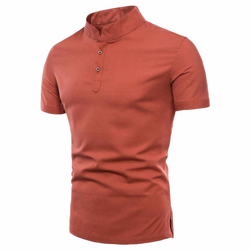 สไตล์สั้น T เสื้อปุ่มขาตั้ง Collar Pullover ผ้าฝ้ายผ้าลินิน Slim Tees แฟชั่น Plus ขนาด 5XL เสื้อสำหรับฤดูร้อน