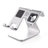 2 In 1 Desktop Phone Stand Tablet Holder Aluminum Watch Stand Charging Dock Cradle For Apple