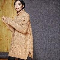 100% шерстяной, ручной работы водолазка толстый вязаный для женщин Повседневное открытым подолом Твердые свободные длинный пуловер, свитер ч