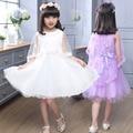 Primavera/Verano Gasa Blanca Princesa Chal Vestido Sólido Niñas Vestido Bohemio Vestido Sin Mangas de Encaje Balón vestido 5-14Y Niños Vestido de Fiesta