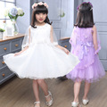 Spring/Summer White Gauze Princess Shawl Dress Solid Girls Ball Gown 5-14Y Sleeveless Dress Bohemian Lace Party Dress Children
