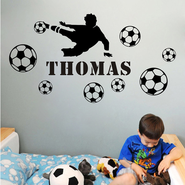 2016 Shooting Boy DIY Personalized Name Wall Sticker Football Wall Art  Decals Home Decor Soccer Wall