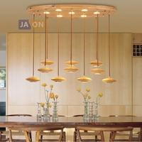 Led 포스트 모던 나무 너트 철 아크릴 샹들리에 조명 lamparas de techo 서스펜션 조명기구 lampen for foyer bedroom