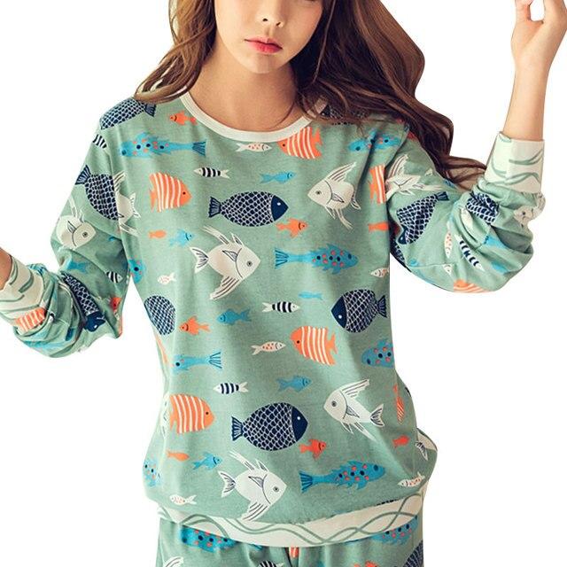 Verde Mulheres Pijamas 2017 Primavera Outono Dos Desenhos Animados Impresso Terno Pijamas Mulheres Kawaii Bonito Dois Set Pijama De Algodão Roupas Casuais