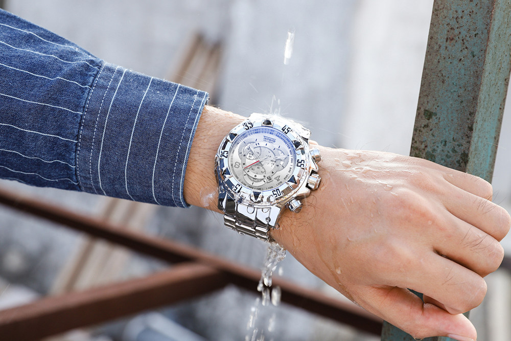 19 Top Brand Luxury Mens Oversize Watch Gold Business Steel Quartz Clock Waterproof Sport Military Chronograph Male Wristwatch 42