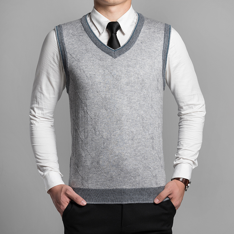 2016 New Autumn Winter Classic V-Neck Vests Sweater Men Sleeveless Wool Sweater