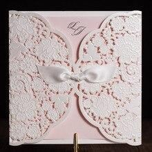 30 teile/los Laser Geschnitten Hochzeitseinladungen Karten Mit Band Elegante Freies Drucken Geburtstag Einladungskarte Party Supplies CW5196
