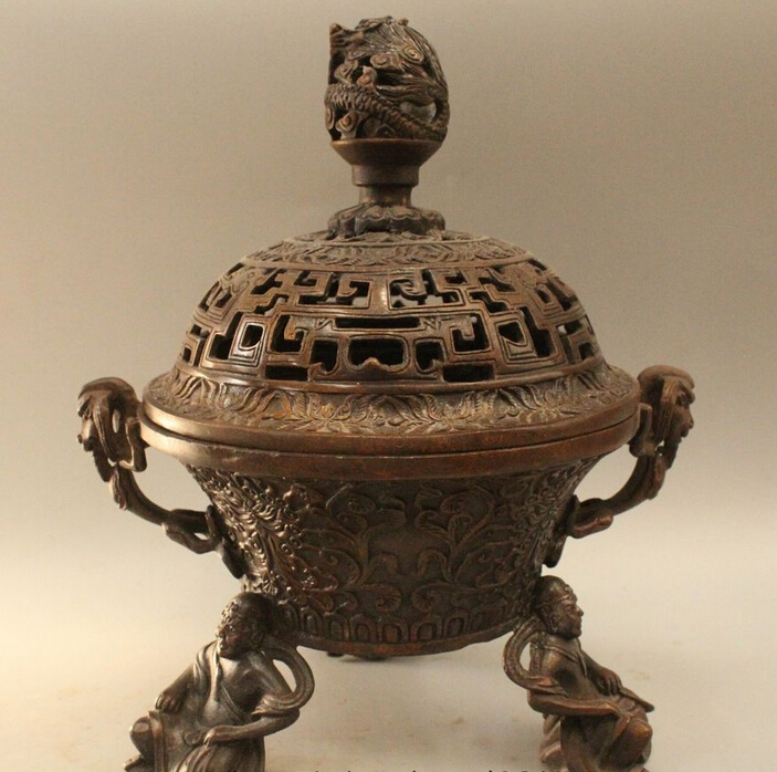 wholesale factory 10 Marked China Dynasty Copper Lucky Dragon Buddha Incense Burner Censerwholesale factory 10 Marked China Dynasty Copper Lucky Dragon Buddha Incense Burner Censer