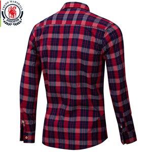 Image 2 - Fredd Marshall 2019 جديد الموضة منقوشة قميص الرجال عادية كم طويل سليم قمصان مناسبة مع جيب 100% القطن عالية الجودة 198