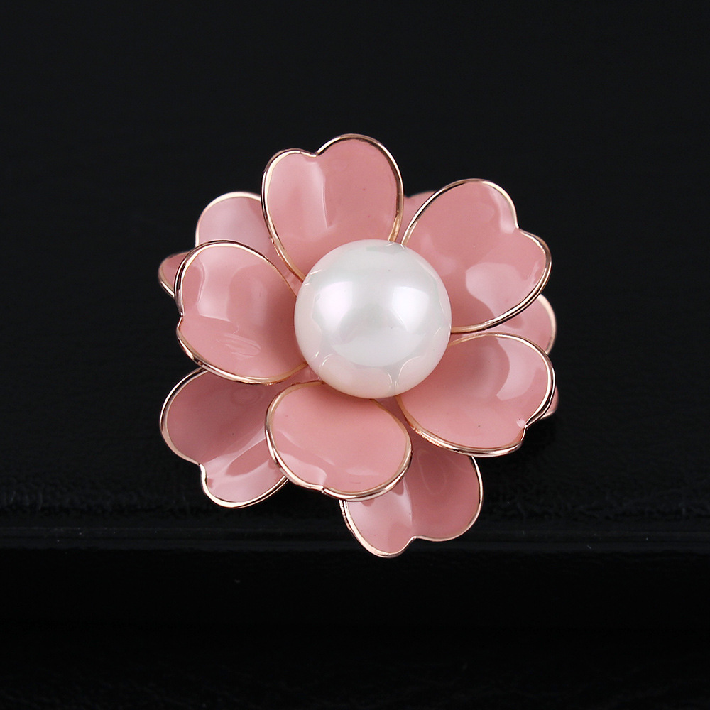 Quality Genuine Gold plating metal enamel pearl Camellia anti-leakage safety mini bar pin brooch ornament jewelry