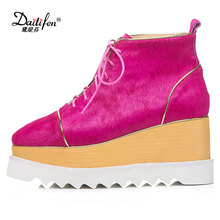 Daitifen 2018 High Heel Shoes Woman Pumps Genuine Leather Platform Wedges Round Toes Lacing Up Women Horsehair Shoes