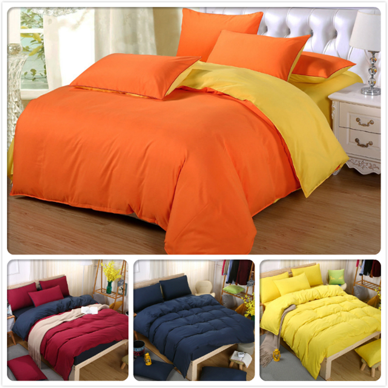 Orange Yellow Blue Pure Color 4pcs Bedding Sets 1.5m 1.8m 2.0m 2.2m Bed Sheet King Queen Double Size Duvet Cover Bedlinens Child