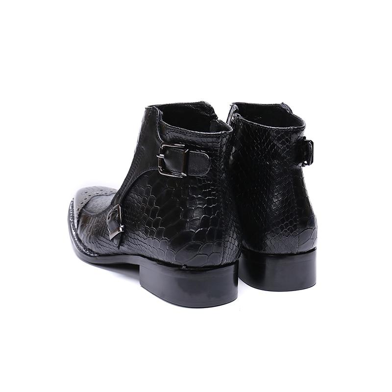 Festa Novas Boots Cowboy Sapatos Clube black Ocidentais Trabalho Marca Mens Botas Design Moda Ankle Genuine Fivela De Carreira Luxo Black Leathe TTqXrw