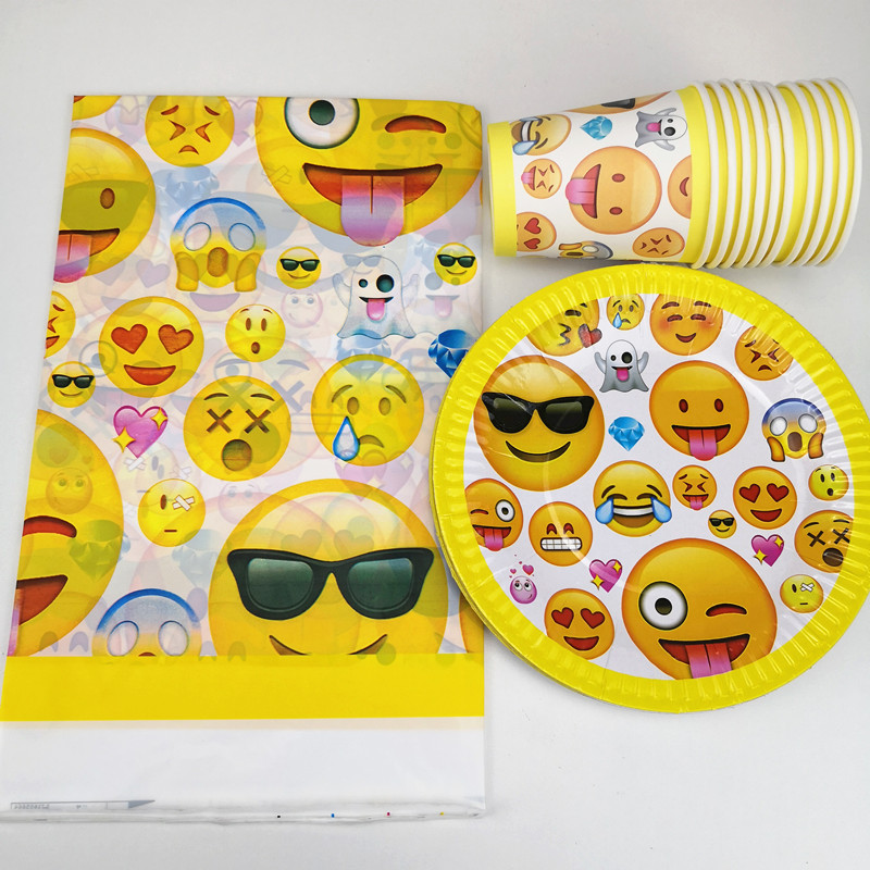 21pcs Cartoon Smile Emoji Disposable Party Tableware 1pc TableCloth +10 cups+10 Paper plate Kids Boy Birthday Party Decoration