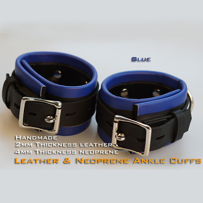 (RD1127)Luxury Customize Handmade 2mm Thickness Leather And 4mm Thickness Neoprene Ankle Cuffs Blue Fetish Wear