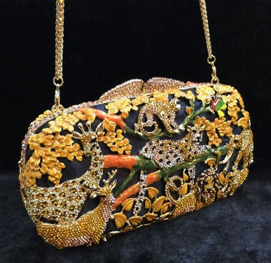 Fashion Prom evening bag diamond flower Clutch Bag hollow Metallic luxury hasp handbag banquet party purse women's Shoulder bag