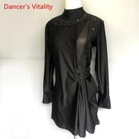 Custom Made Man Latin Dance Tops For Senior Diamond Male Long Sleeve High Quality Shirt New Men Ballroom Competition Shirts