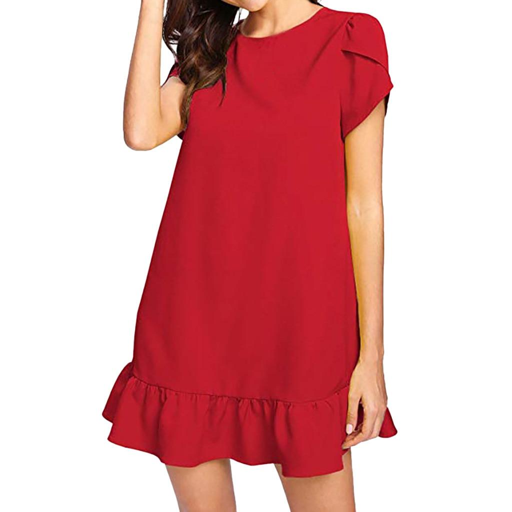 Round Neck cover dress summer women beach Petal Short Sleeve summer casual dress 2019 Ruffle Hem Innrech Market.com