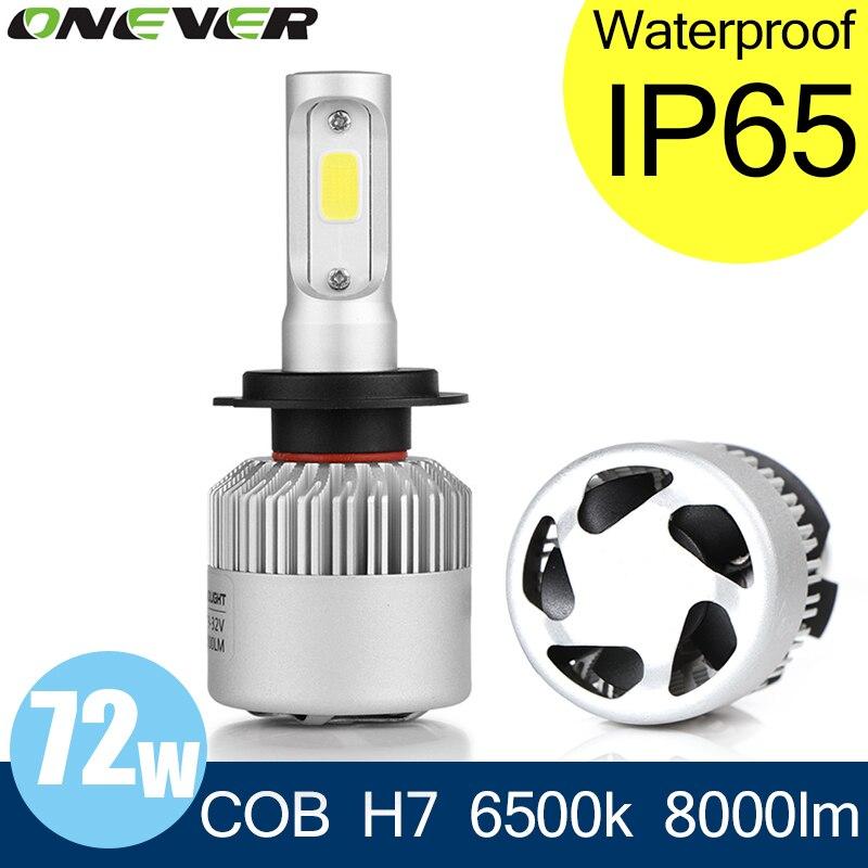Prix pour Onever cob h7 led phare 72 w 8000lm voiture led phares ampoule Projecteur Auto Brouillard Avant Lumière 12 V Auto Pièces De Rechange 6500 K