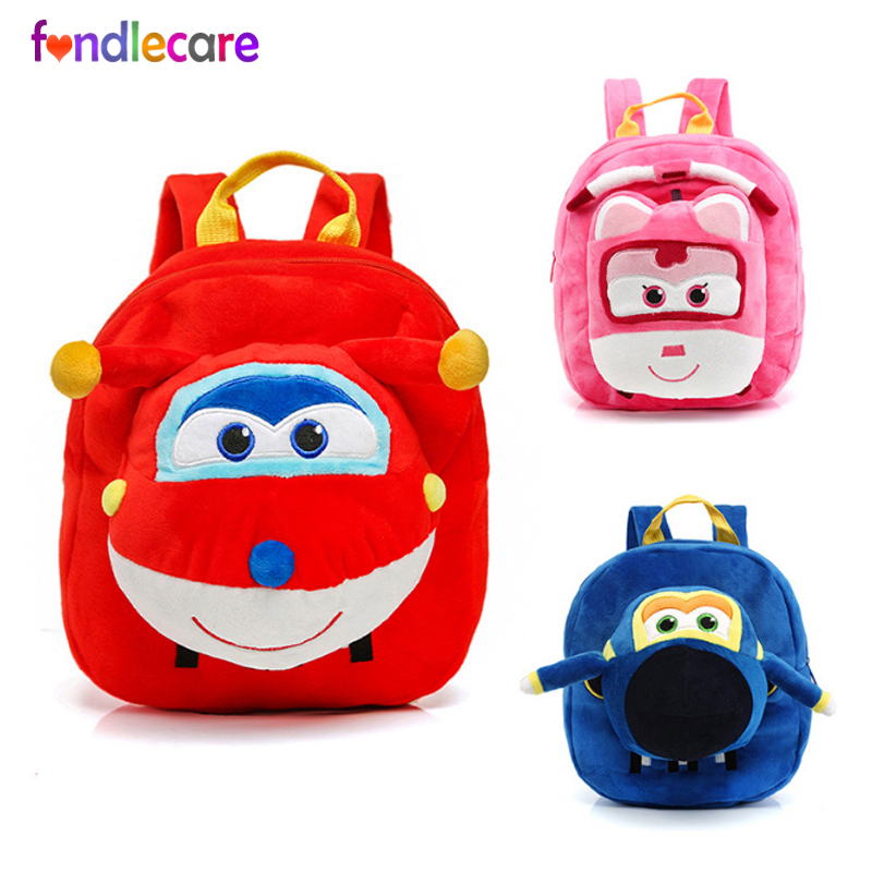 Fondlecare Kids Cartoon School Bag 3D Super Wings Jett Plush Backpack For Kindergarten Girl Boys Schoolbag Children's Gift LF795