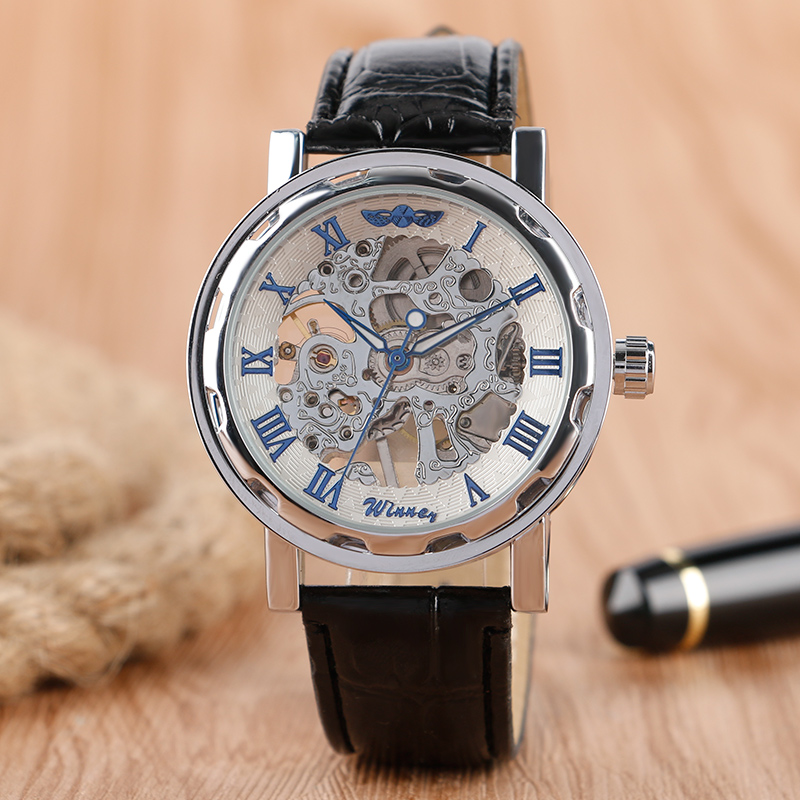 Hot Brand Winner White Hollow Dial Wrist Watch Black Leather Band Strap Elegant Hand Winding  Mechanical Watch