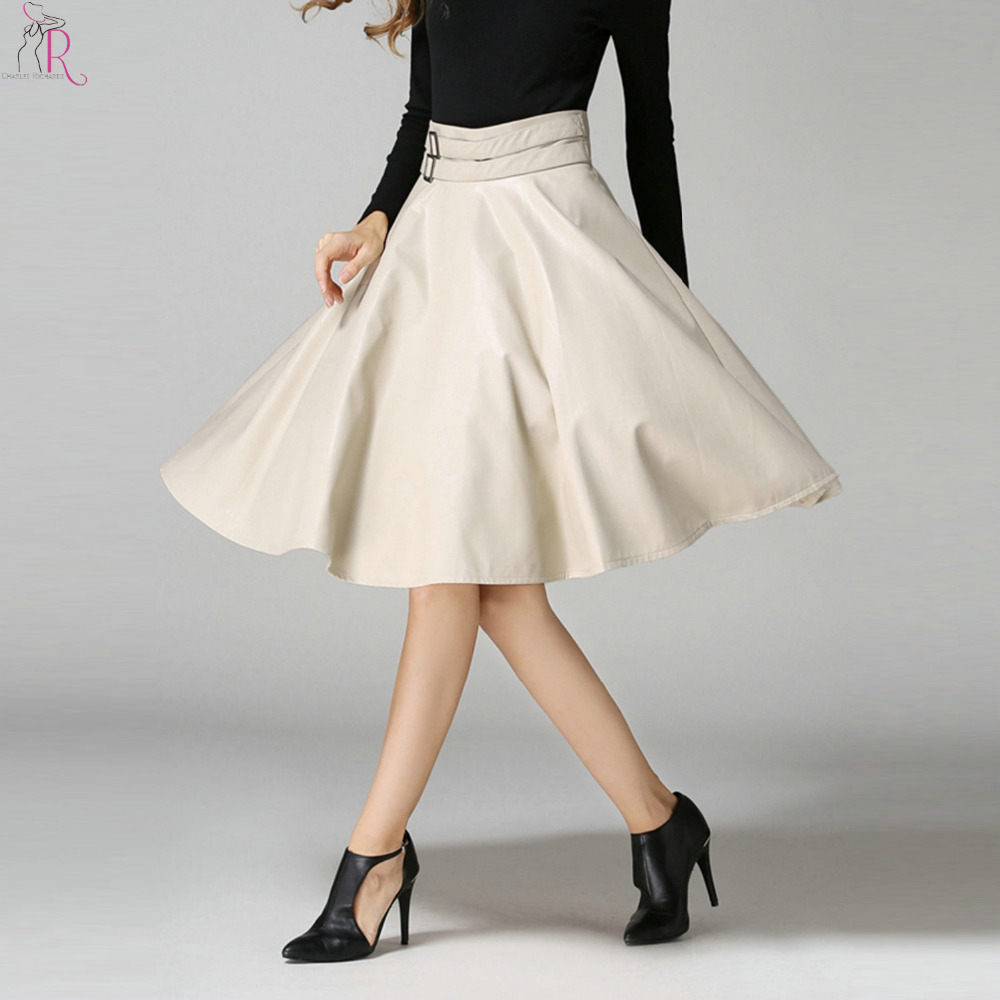 White High Waisted Skater Skirt - Dress Ala