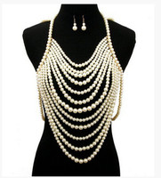FREE SHIPPING NEW STYLE P01 IMITATION PEARLS CHAINS JEWELRY SET FULL BODY PEARLS BEADS JEWELRY EARRINGS