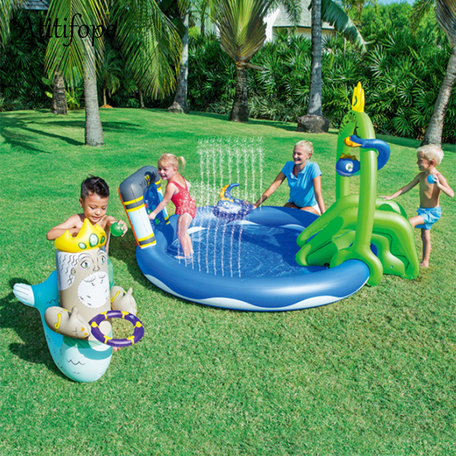 Slides Link Garden Water Pipes Can Be Sprayed Eco-friendly Piscina Plastic Inflatable Round With Umbrellas Bucket Swimming Pool Top Watermelons Swimming Pool & Accessories Activity & Gear