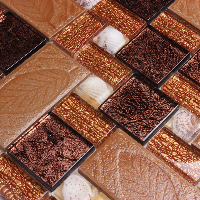 Brown Gl Mosaic With Leaf And Shell Tiles For Living Room Bathroom Shower Wall