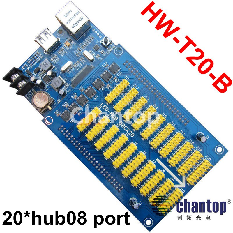 HW-T20-B USB/Ethernet asynchronous full color led control card 1024*80 pixel display controller 20*hub08port for P13.33,p16,p20