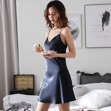 Summer Ice Silk Sling Nightdress Latest Pure Color Satin Sexy Sleeveless Nightgowns Female Thin Homewear Woman X2879